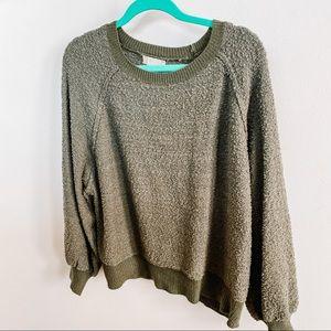 Altar'd State Nubby Sweatshirt - Olive Green